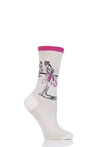 Damen 1 Paar HotSox Artist Collection Degas Study Dancer Socken aus Baumwolle Pink 08.04 Damen