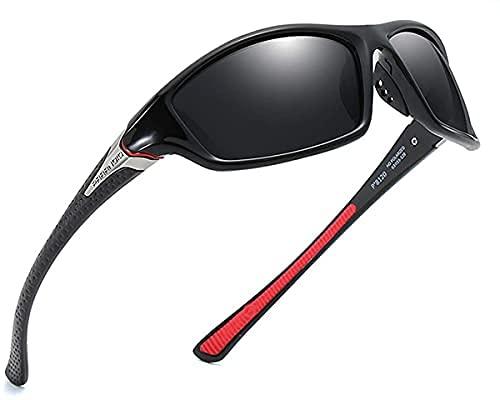 Mantimes Gafas de sol para hombre Deportes ciclismo running Rectangular mujeres polarizadas gafas de sol hombre Conducción golf béisbol gafas de espejo (negro)