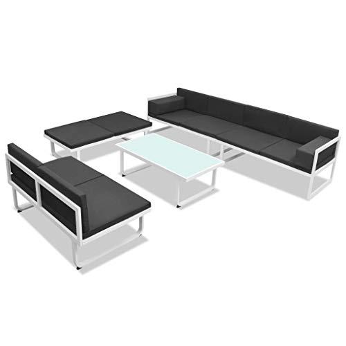 Tidyard Gartensofa-Garnitur Sofa-Set-Gartengarnitur Lounge Sitzgarnitur Gartensofa 2-Sitzer-Sofa-Lounge Esstisch Gartenmöbel-Set Sofa Garnitur Couch-Eck,Aluminium-Rahmen+Textilene