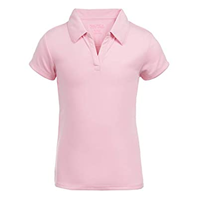 Nautica Girls' Big School Uniform Short Sleeve Performance Polo, Light Pink, Medium(8/10)