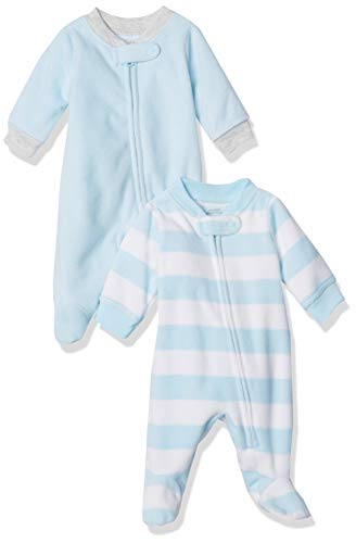 Amazon Essentials 2-Pack Microfleece Sleep and Play Infant Toddler-Sleepers, Blue White Rugby...