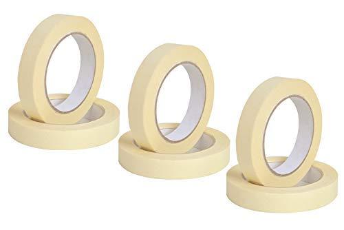 Nastro adesivo per mascheratura, masking tape carta per imbianchino, carrozziere, scocht carta pittore, 60 gradi - 6 rotoli (19x50)