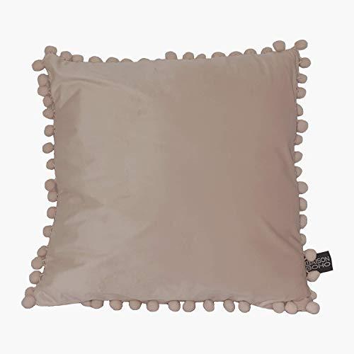 Maison Boho Funda para cojín con pompón, 45 x 45 cm, poliéster, terciopelo, color rosa
