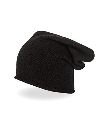 CASH-MERE.CH 100% Kaschmir Beanie Mütze | Strickmütze für Damen und Jugendliche (Schwarz)