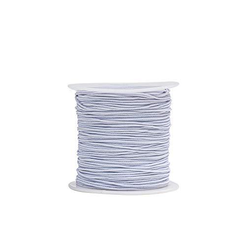 Crafare 1mm White Elastic Cord Beading Thread Stretch String for Jewelry Bracelet Braided Craft Making 149 Yards/ 446 Feet
