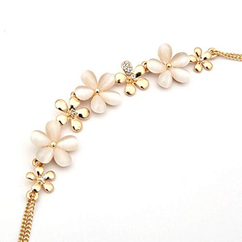 Collar Collar De Flores De Moda para Mujer, Flor De Ciruelo, Ópalo, Collares Pendientes De Diamantes De Imitación De Austria, Joyería Corta Sin Cuello para Mujer Sin Cuello para Ho
