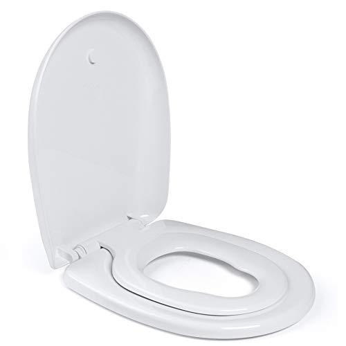 Aqua Bagno | Familien WC Sitz mit Absenkautomatik, inkl. Kindersitz, Toilettendeckel in O-Form, Klodeckel und WC Brille aus Polypropylen, antibakteriell, made in EU, abnehmbar, Weiß | Junior (Modell)