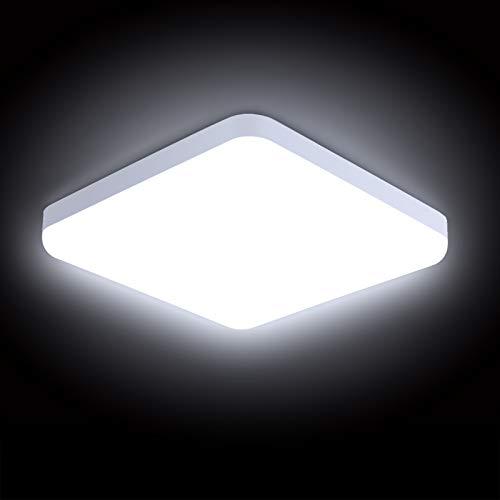 Combuh Plafonnier LED 30W Étanche IP56 2400LM Blanc Froid 6000K Facile à Installer Lampe de Plafond pour Extérieur, Salle de Bain, Bureau, Balcon, Garage 25 * 25 * 4CM