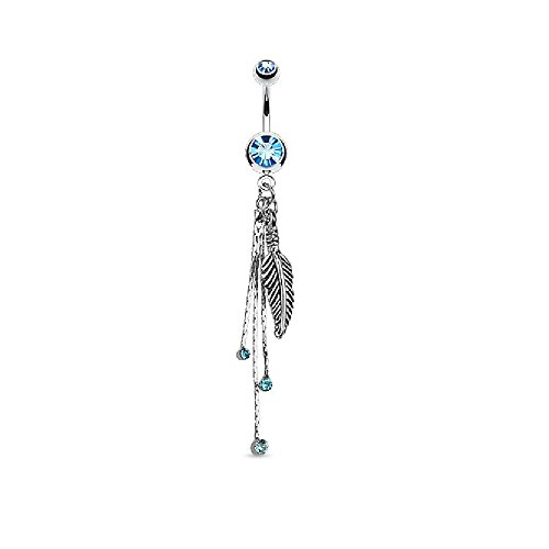 Pierced Owl Feather and Chains CZ Crystal Dangling Belly Button Ring in 316L Stainless Steel (Aqua)