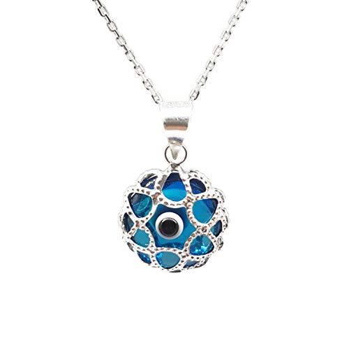 Mystic Jewels By Dalia - Collar Mal de Ojo de Cristal y Plata de Ley 925 - Ojo Turco Filigrana - - para Hombres y Mujeres