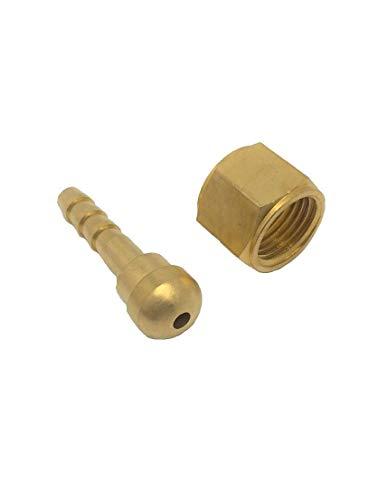 CO2/TIG溶接機用 ガスホース ジョイントセット組(ナットとニップル)(9/16-18UNF)先端直径:6mm 適合ホース内径 5mm 1セット