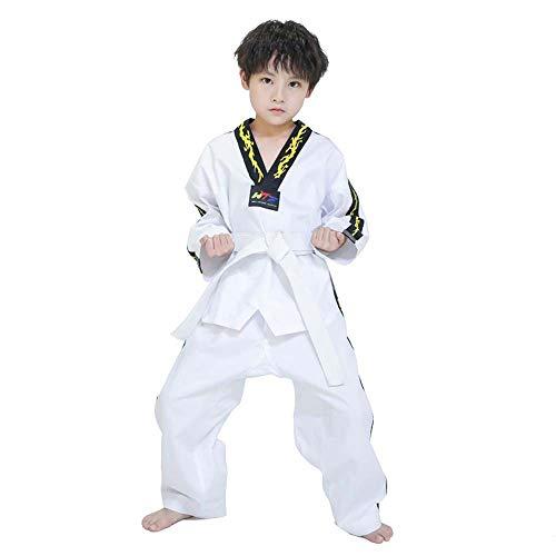 JXS Taekwondo Martial Arts Trainingsanzug-with White Belt-Drachen Bestickt atmungsaktive Stoff für den Kampfsport Fitnessraum Kinder & Erwachsene,M