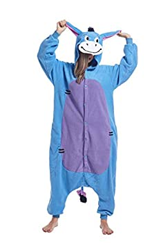 cosMonsters Unisex Eeyore Adult Costume Onesie Pajamas for Women and Men Halloween Cosplay Disney Onesies  Eeyore,Large