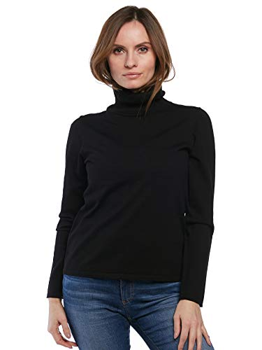 August Silk Women's Long Sleeve Turtle Neck Top, Black, XLarge