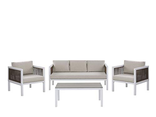 Beliani Set Lounge da Giardino con Divano e 2 Poltrone Bianco e Marrone Borello