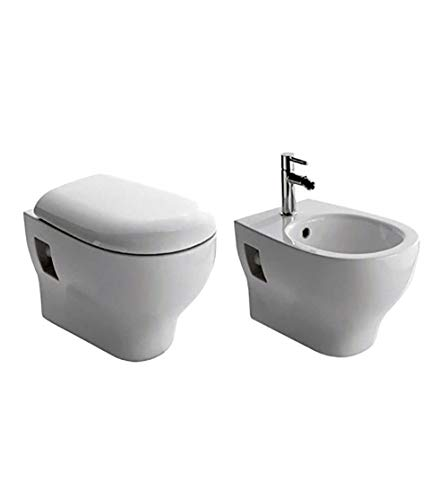 Sanitari bagno vaso water sospeso con bidet,compreso di coprivaso,Grace Globo