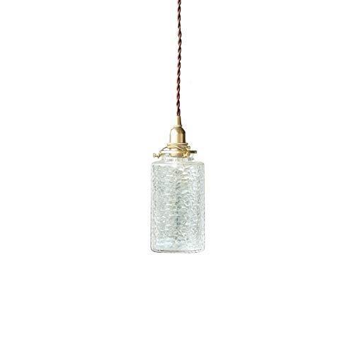 Unbekannt HSB Glaszylinder Lampenschirm 1-Light E14 Decken Zylinder Bauernhof Metall Kronleuchter Seedy Glasdecke hängende Beleuchtung-Befestigung for Restaurants Wohnzimmer Küche