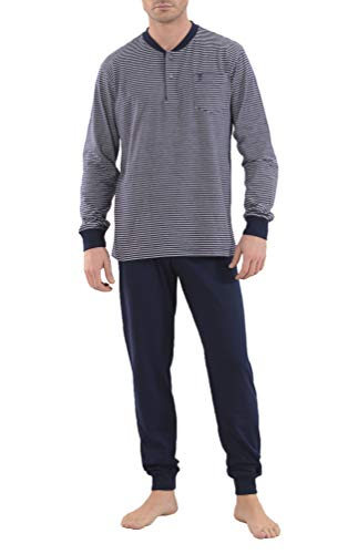 El Búho Nocturno - Pijama Hombre Largo Premium Tapeta Punto Rayas Marino Talla 5 (XL) Blanco 100% algodón