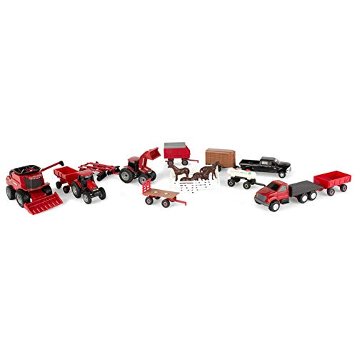ERTL Case IH Farm Toy Value Playset with Tractors, Trucks, Farm Implements and Horses