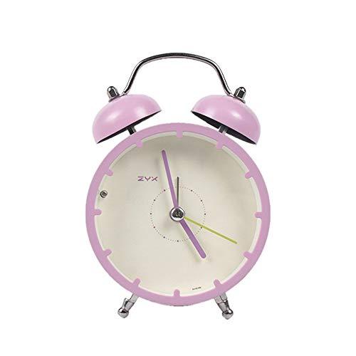 QLKJ wekker, compacte persoonlijkheidsdecoratie eenvoudige nacht studio kleine wekker mini student met roze nachtlampje