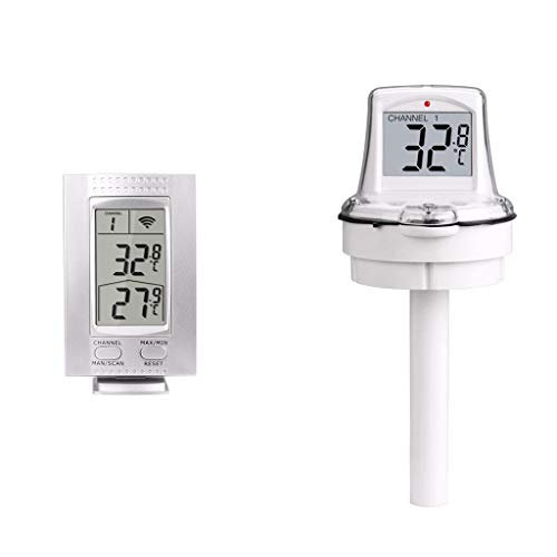 GuangYuan Thermometer,Floating Thermometer Wireless Digital Remote Observation Outdoor Swimming Pool (White)