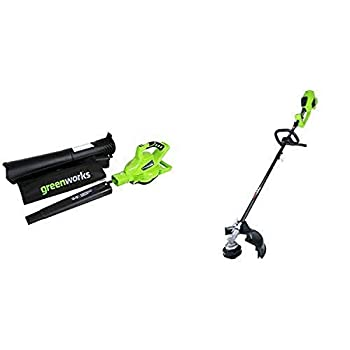Greenworks 40V 185 MPH Variable Speed Cordless Blower Vacuum Battery Not Included 24312 with 14-Inch 40V Cordless String Trimmer  Attachment Capable  Battery Not Included 2100202