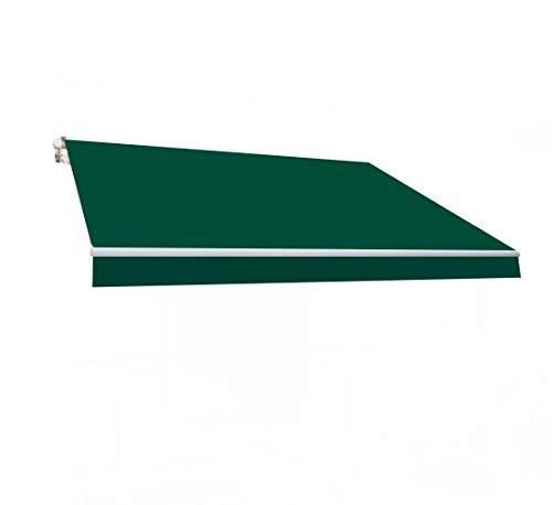 SmartSun Classic Toldo Completo 3x2m Color Verde Lona poliéster. Estructura de Aluminio. Regulable en inclinación. Manivela incluida. Toldo terraza, Jardin, Balcon