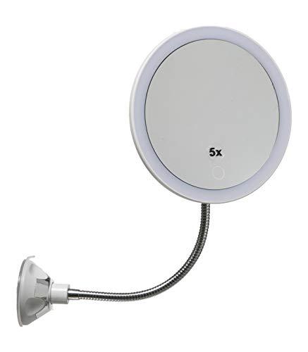 Espejo de 5 aumentos con ventosa, luces LED, soporte flexible y giratorio de 360°, espejo de maquillaje, espejo cosmético portátil para cuarto de baño y viaje