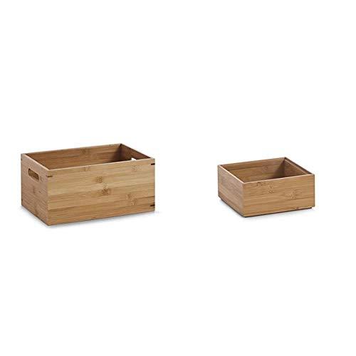 Zeller 13340 Aufbewahrungskiste, Bamboo, ca. 30 x 20 x 14 cm & 13330 Ordnungsbox 15 x 15 x 6.5 cm, Bamboo
