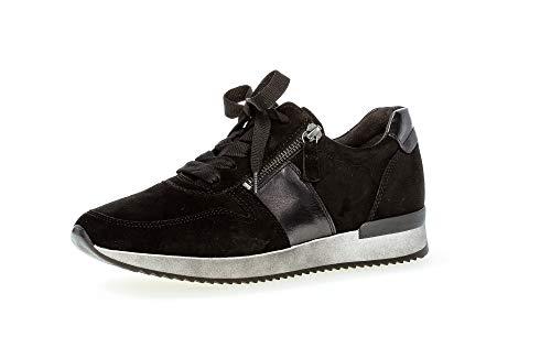 Gabor Damen Sneaker, Frauen sportlicher Schnürer,Best Fitting,Reißverschluss,Optifit- Wechselfußbett, feminin elegant Women,schwarz,37 EU / 4 UK