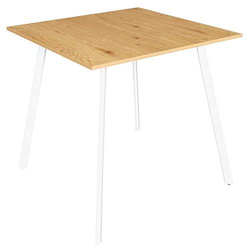 B&D home - Kleiner Esstisch Holz Metallgestell | weisser Esszimmertisch Wildeiche | Bistrotisch eckig | Kleiner Schreibtisch 80cm breit | Kleiner Holztisch Esszimmer | Eiche-Honig 80 x 80 cm