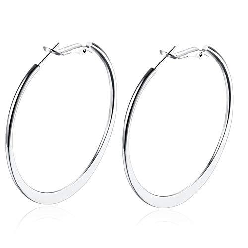 Women Hoop Earrings Classic Hypoallergenic Stainless Steel Huggie Huggy Round Flattened Nickel Free Earrings Hoops for Sensitive Ears