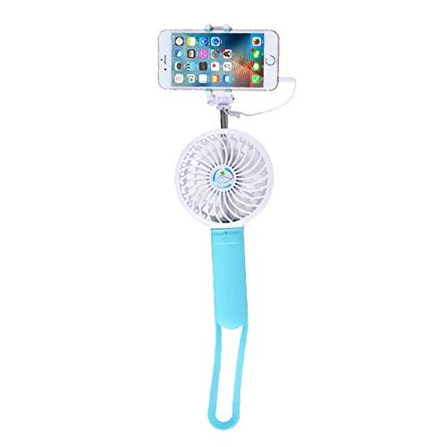 TENGGO Portátil Recargable de Mano Multifuncional elástico Selfie Palo Power Bank 3 Grados de Ajuste de ventilación-Azul