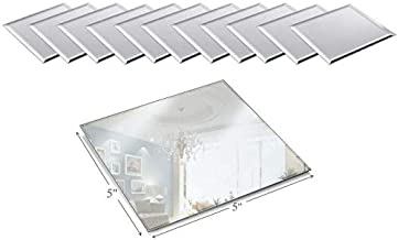 Light In The Dark 5 Inch Square Mirror Candle Plate with Beveled Edge Set of 12 - Small Square Mirror for Centerpieces, Wall Décor, Crafts