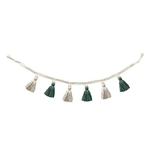 Macrame Woven Tassel Garland Banner with Wood Bead Boho Home Decor Basket Decorative Wall Hanging for Bedroom, Nursey Room, Baby Shower, Party (Green and White)