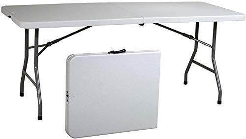 """Ontario Furniture 8 Foot Plastic Folding Table - Fold in Half with a Carrying Handle - White Resin - 30""""x 96"""""""