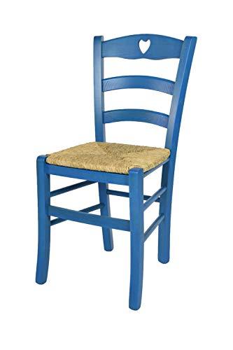 Tommychairs - Silla Cuore para Cocina y Comedor, Estructura en Madera de Haya Color anilina Azul y Asiento en Paja