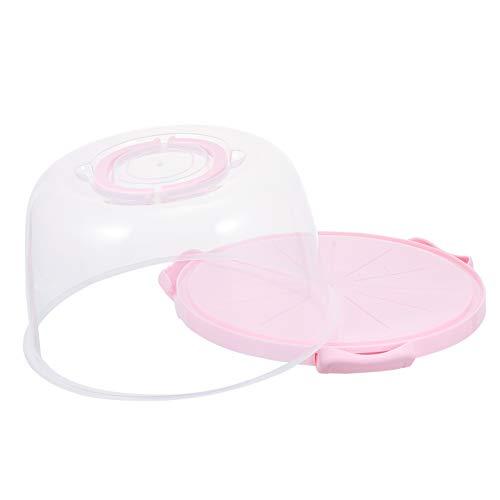 Hemoton Caja de Pastel de Plástico Portabebés con Mango Plegable Nevera Caja de Pastel Redonda Contenedor de Cupcake con Tapa para Viaje en Casa 8 Pulgadas (Rosa)