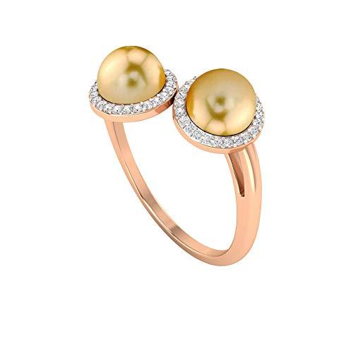 Anillo de compromiso de 2 piedras de perlas del Mar del Sur de 6,25 quilates con halo de diamantes (calidad AAA), 14K Oro rosa, Size:EU 68