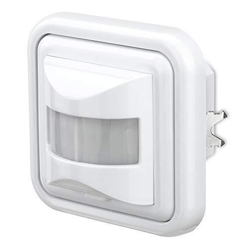 conecto Infrarot Bewegungsmelder Unterputz Wandmontage innen Lichtschalter LED 160° IP20 Dämmerungssensor (1 Stück), weiß