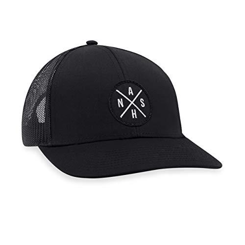 NASH Hat - Nashville Trucker Hat Baseball Cap Snapback Golf Hat (Black)