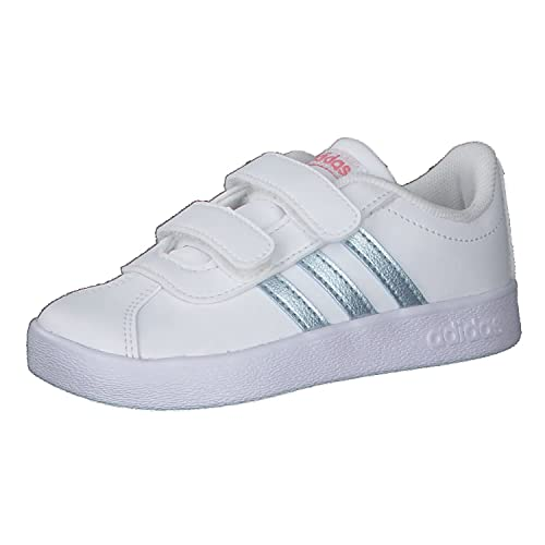 adidas VL Court 2.0 Cmf I, Scarpe da Ginnastica Unisex-Bambini, Bianco Ftwbla Metvis Suppop, 27 EU