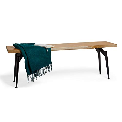 VonHaus Dining Table Bench, Wood Effect Dining Bench, Indoor Bench, Dining Chair, Industrial Style, Rustic Wooden Effect Bench with Metal Legs, for Kitchen Table, Dining Room, Living Room