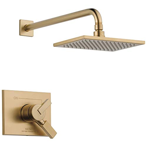 Delta Faucet Vero 17 Series Dual-Function Shower Trim Kit with Single-Spray Touch-Clean Rain Shower Head, Champagne Bronze, 2.0 GPM Water Flow, T17253-CZ-WE (Valve Not Included)