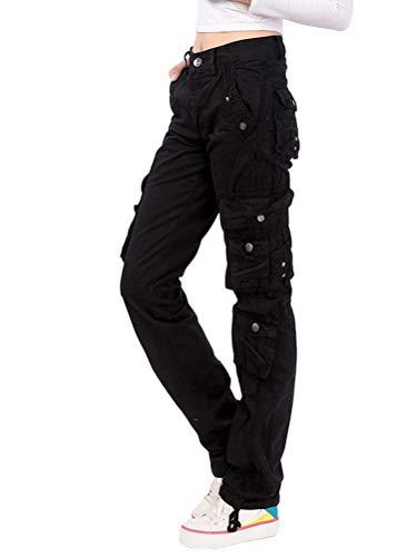 Onsoyours Femme Mode Cargo Pantalon Vintage Multi Poches Streetwear Baggy Straight Combat Pantalon Taille Haute Hip Hop Pantalon De Travail Grande Taille Noir X-Large