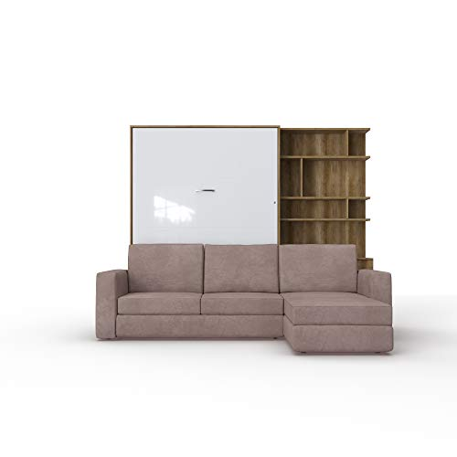 Schrankbett mit Sofa Wlappbett inklusive Ecksofa Gästezimmer Wohnzimmer Schlafzimmer 160x200 (Weiß/Weiß Glanz) (Eiche Country/Weiß Glanz)