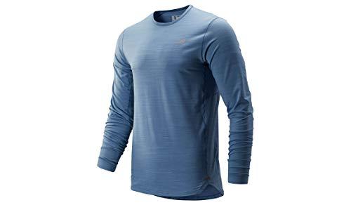 New Balance Herren Seasonless Longsleeve-Grau, Blau Shirts, S