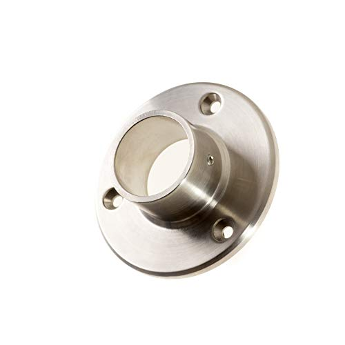 Conector de pared para tubo redondo de 33,7 mm. Diámetro de la placa: 84,5 mm. Brida de suelo de acero inoxidable V2A pulida. 1 pieza.