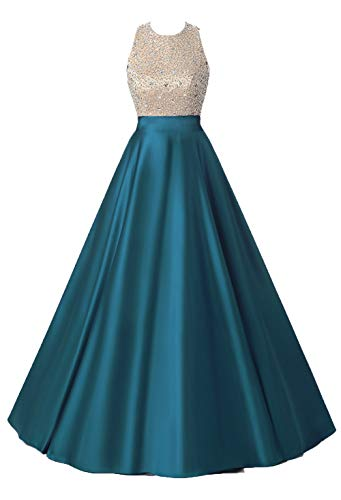 HEIMO Women's Sequined Evening Party Gowns Beading Formal Dress for Teens Prom Dresses Long H160 14 Teal