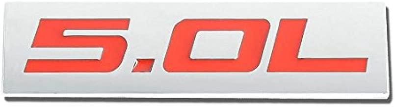UrMarketOutlet 5.0L Red/Chrome Aluminum Alloy Auto Trunk Door Fender Bumper Badge Decal Emblem Adhesive Tape Sticker